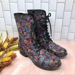 Steve Madden | Troopa Floral Black Combat Boot 9.5